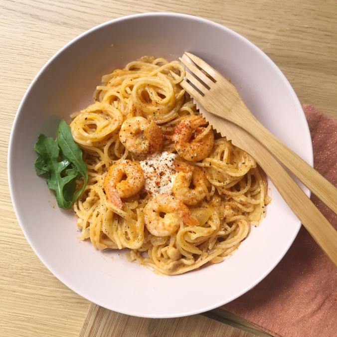 camille bavarde recette one pot pasta crevettes coco
