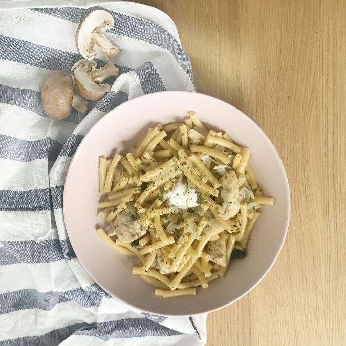 camille bavarde one pot pasta poulet champignons recette